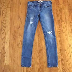 Hollister jeans. Size 5 Dark wash,Destroyed style